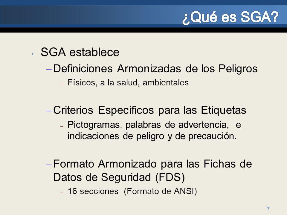 7 SGA establece – Definiciones Armonizadas de los Peligros – Físicos, a la salud, ambientales – Criterios Específicos para las Etiquetas – Pictogramas