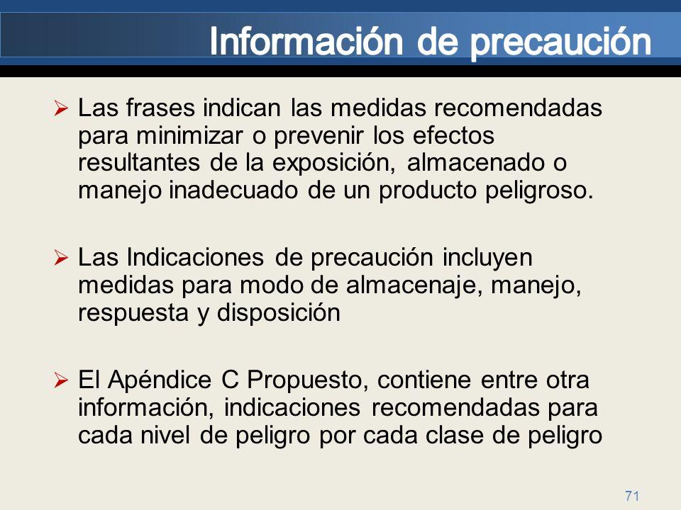 71 Las frases indican las medidas recomendadas para minimizar o prevenir los efectos resultantes de la exposición, almacenado o manejo inadecuado de u