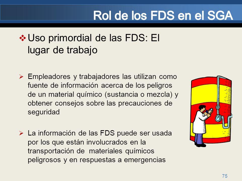 75 Uso primordial de las FDS: El lugar de trabajo Empleadores y trabajadores las utilizan como fuente de información acerca de los peligros de un mate