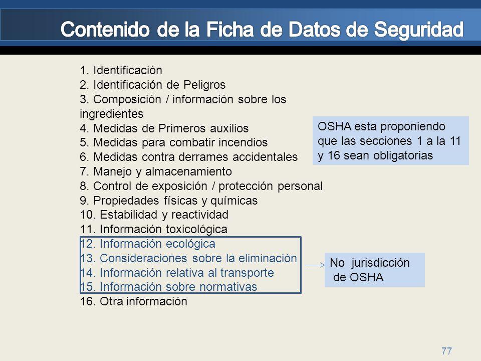 77 1. Identificación 2. Identificación de Peligros 3. Composición / información sobre los ingredientes 4. Medidas de Primeros auxilios 5. Medidas para