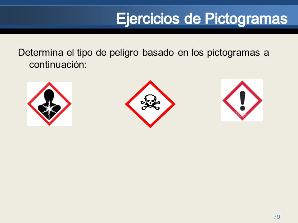 79 Determina el tipo de peligro basado en los pictogramas a continuación:
