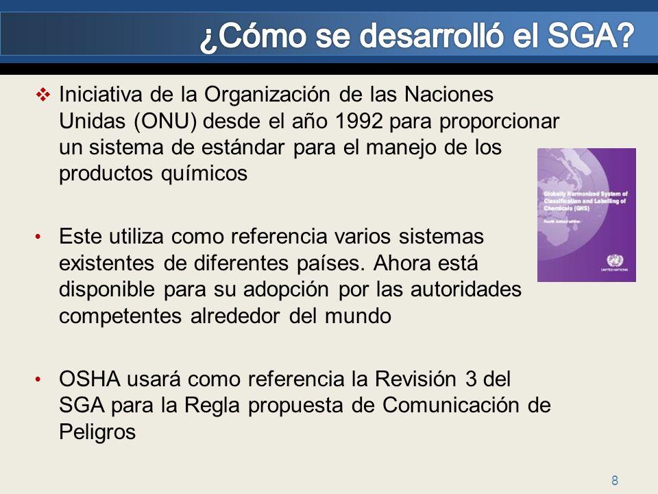 8 Iniciativa de la Organización de las Naciones Unidas (ONU) desde el año 1992 para proporcionar un sistema de estándar para el manejo de los producto