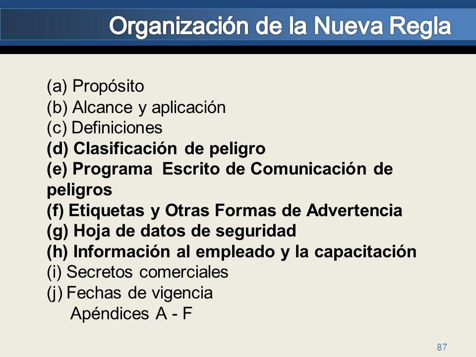 87 (a) Propósito (b) Alcance y aplicación (c) Definiciones (d) Clasificación de peligro (e) Programa Escrito de Comunicación de peligros (f) Etiquetas