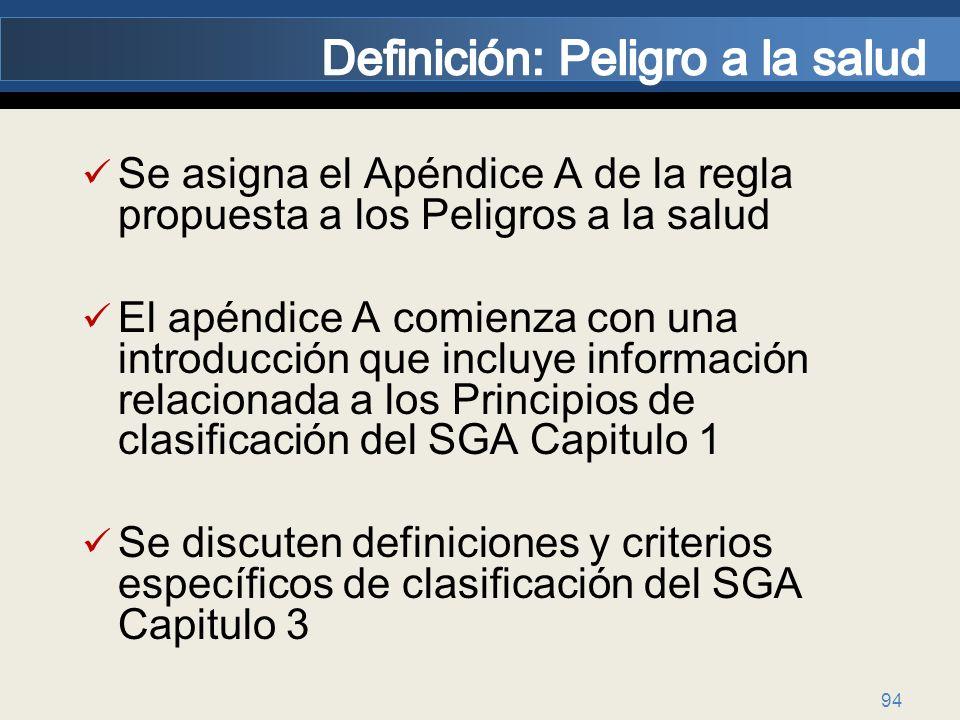 94 Se asigna el Apéndice A de la regla propuesta a los Peligros a la salud El apéndice A comienza con una introducción que incluye información relacio