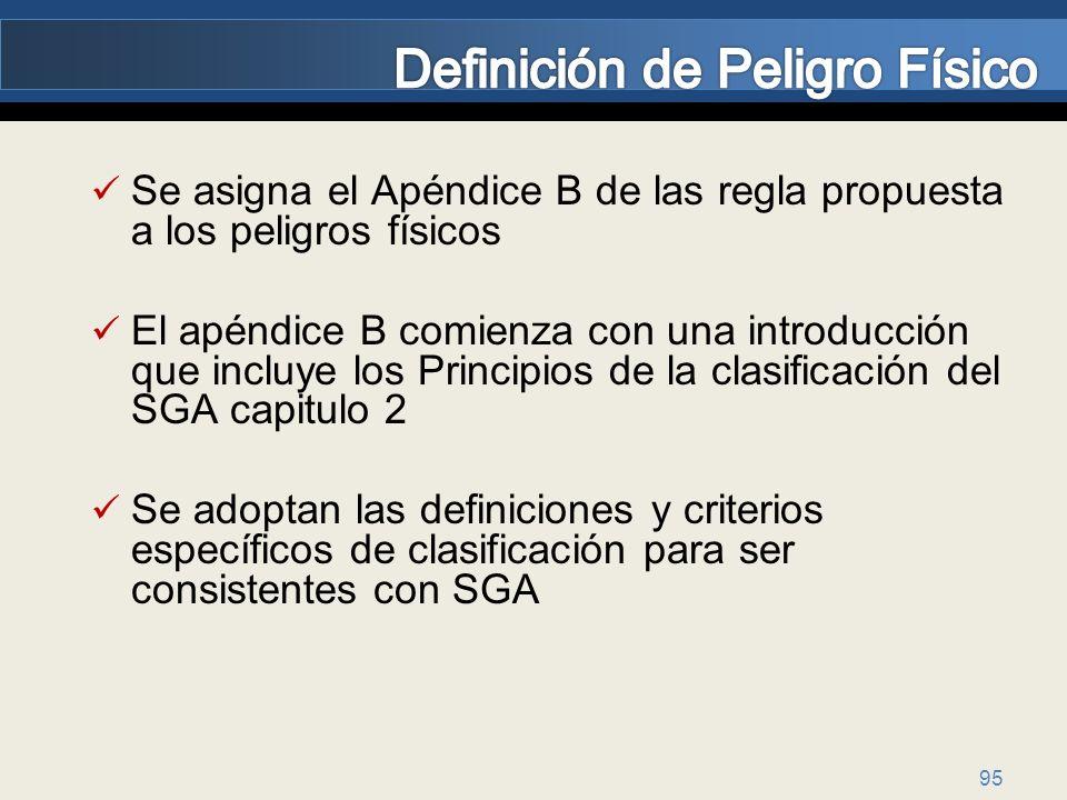 95 Se asigna el Apéndice B de las regla propuesta a los peligros físicos El apéndice B comienza con una introducción que incluye los Principios de la