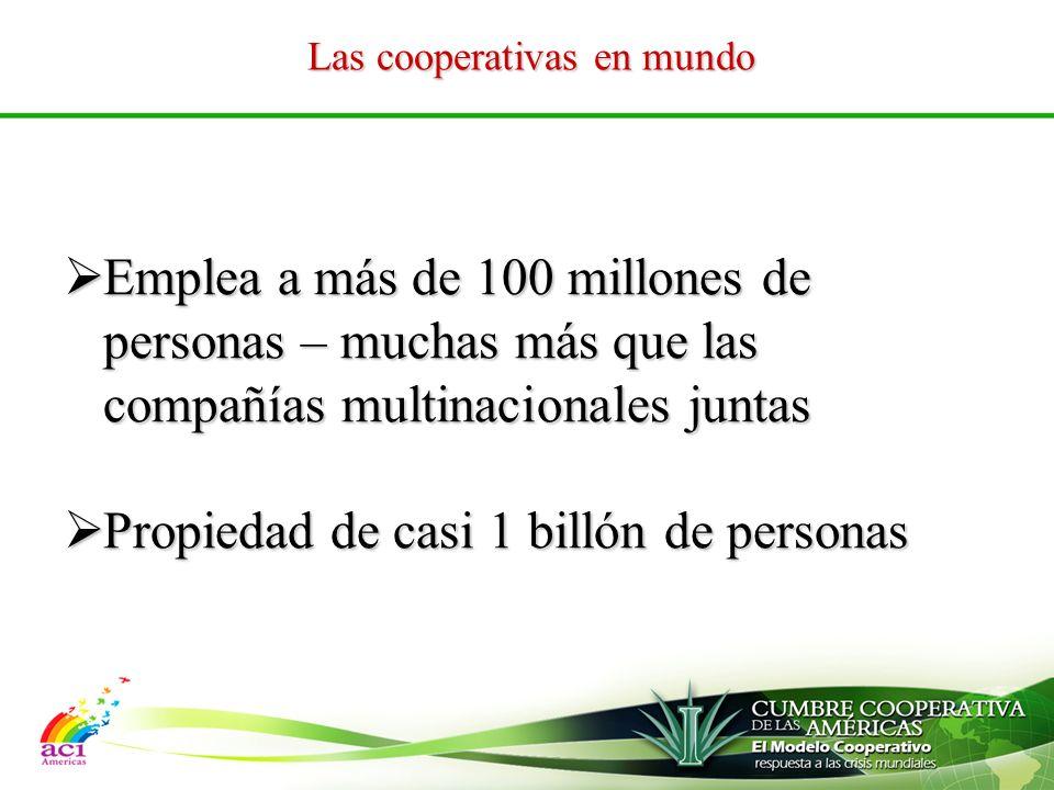 Las cooperativas en mundo Emplea a más de 100 millones de personas – muchas más que las compañías multinacionales juntas Emplea a más de 100 millones de personas – muchas más que las compañías multinacionales juntas Propiedad de casi 1 billón de personas Propiedad de casi 1 billón de personas