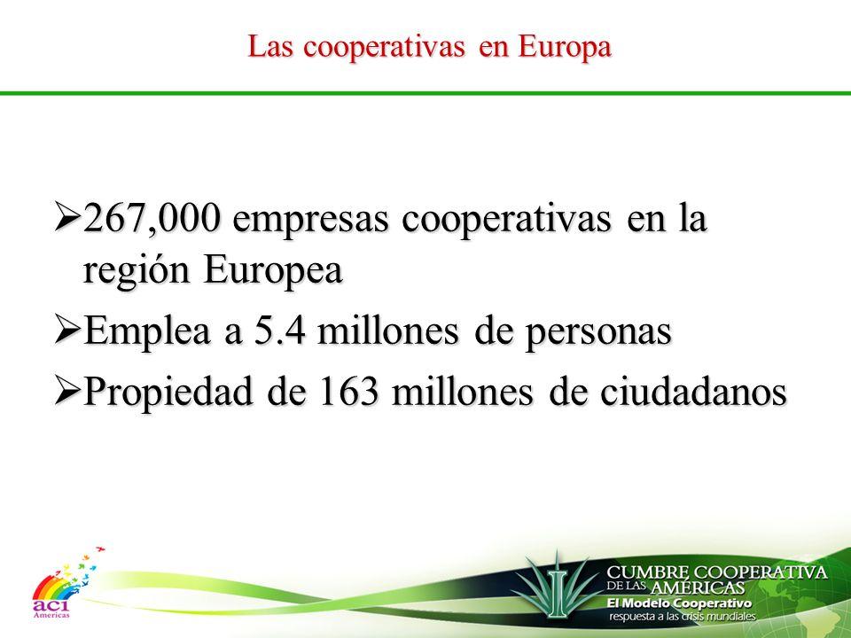 Las cooperativas en Europa 267,000 empresas cooperativas en la región Europea 267,000 empresas cooperativas en la región Europea Emplea a 5.4 millones de personas Emplea a 5.4 millones de personas Propiedad de 163 millones de ciudadanos Propiedad de 163 millones de ciudadanos