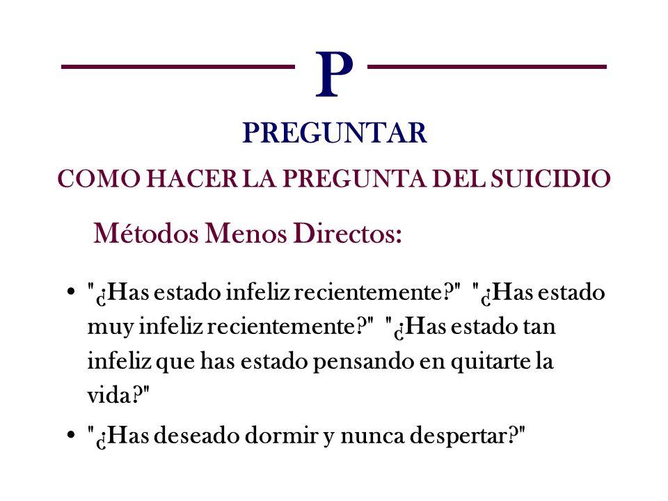 P PREGUNTAR COMO HACER LA PREGUNTA DEL SUICIDIO Métodos Menos Directos: