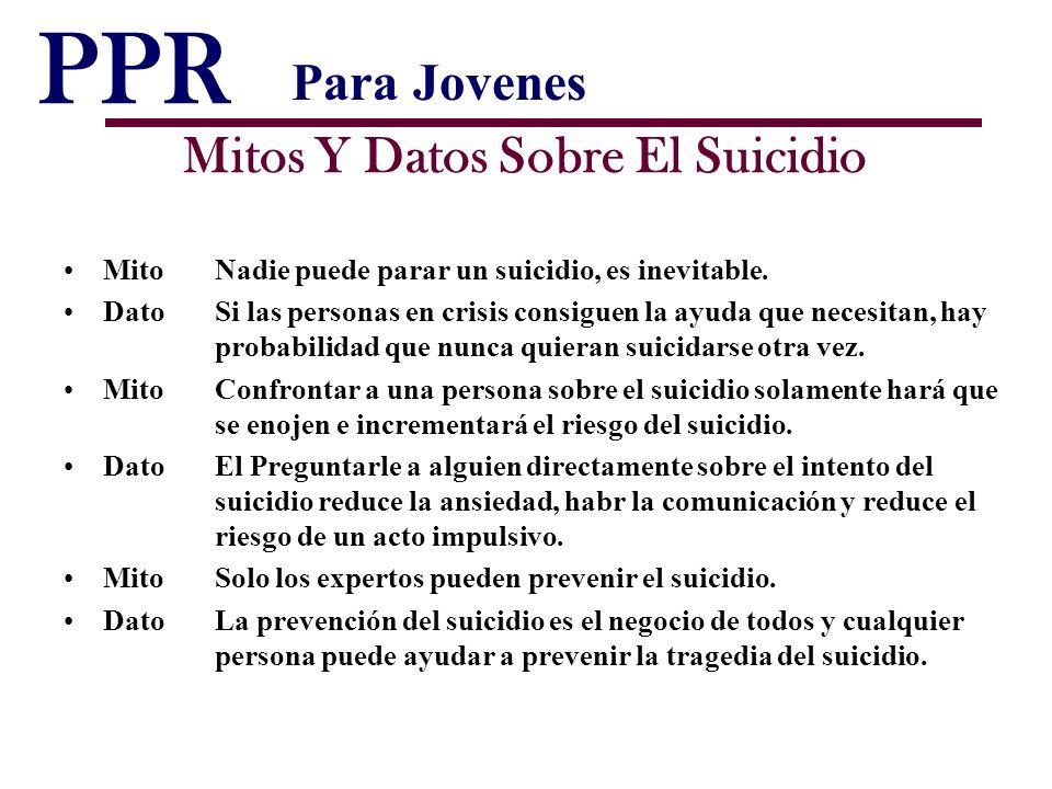 PPR Mitos Y Datos Sobre El Suicidio MitoNadie puede parar un suicidio, es inevitable. DatoSi las personas en crisis consiguen la ayuda que necesitan,
