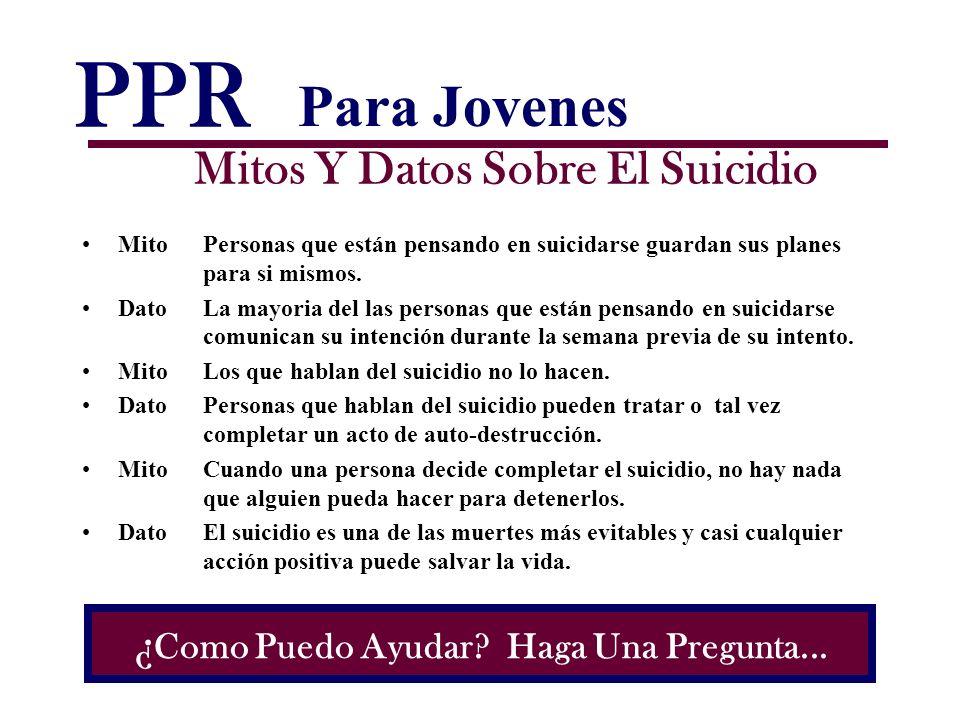 PPR Mitos Y Datos Sobre El Suicidio MitoPersonas que están pensando en suicidarse guardan sus planes para si mismos. Dato La mayoria del las personas