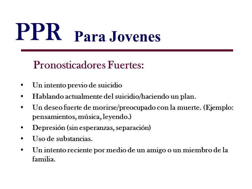 PPR Pronosticadores Fuertes: Un intento previo de suicidio Hablando actualmente del suicidio/haciendo un plan. Un deseo fuerte de morirse/preocupado c