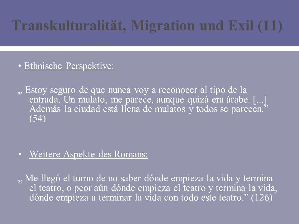 Transkulturalität, Migration und Exil (11) Ethnische Perspektive: Estoy seguro de que nunca voy a reconocer al tipo de la entrada.