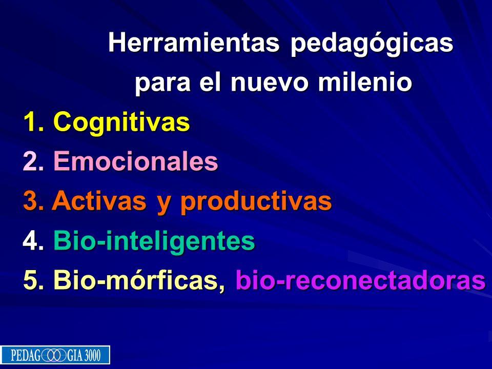 Herramientas pedagógicas Herramientas pedagógicas para el nuevo milenio 1. Cognitivas 2. Emocionales 3. Activas y productivas 4. Bio-inteligentes 5. B