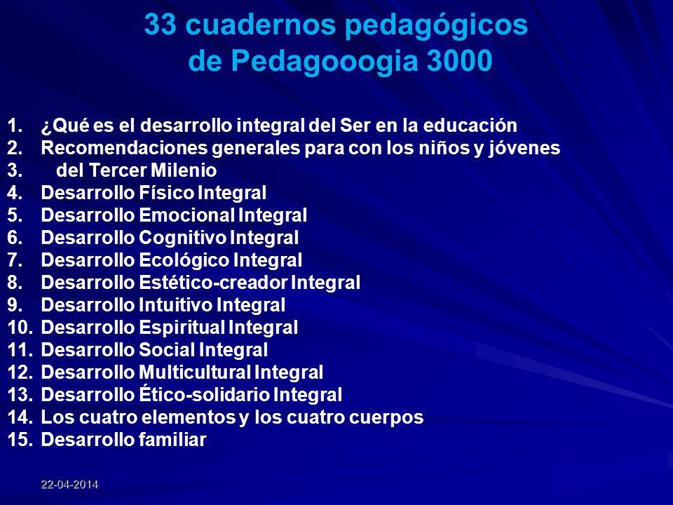 22-04-2014 33 cuadernos pedagógicos de Pedagooogia 3000 1.¿Qué es el desarrollo integral del Ser en la educación 2.Recomendaciones generales para con