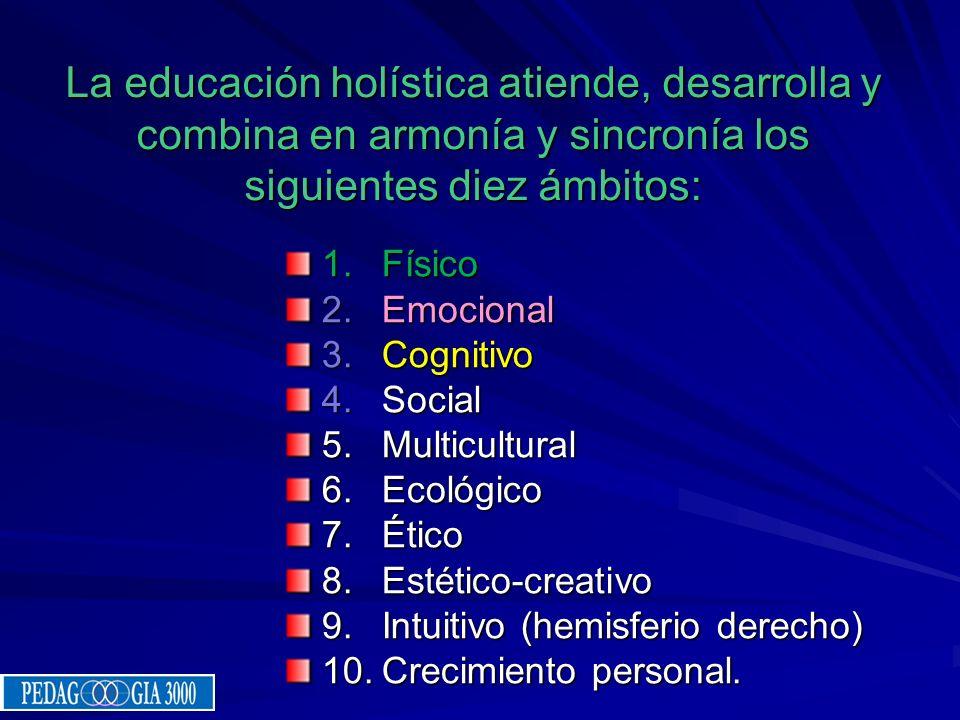 La educación holística atiende, desarrolla y combina en armonía y sincronía los siguientes diez ámbitos: 1.Físico 2.Emocional 3.Cognitivo 4.Social 5.M
