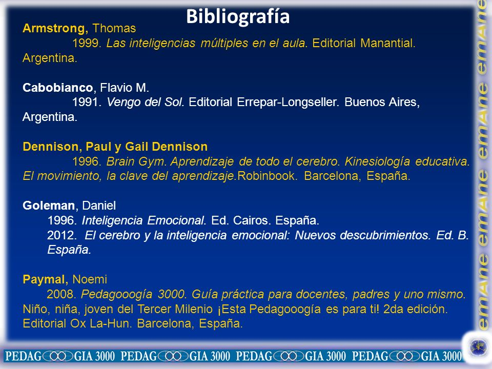 Bibliografía Armstrong, Thomas 1999. Las inteligencias múltiples en el aula. Editorial Manantial. Argentina. Cabobianco, Flavio M. 1991. Vengo del Sol