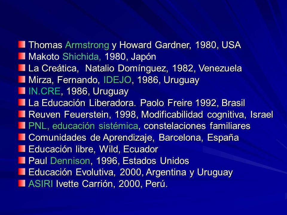 Thomas Armstrong y Howard Gardner, 1980, USA Makoto Shichida, 1980, Japón La Creática, Natalio Domínguez, 1982, Venezuela Mirza, Fernando, IDEJO, 1986