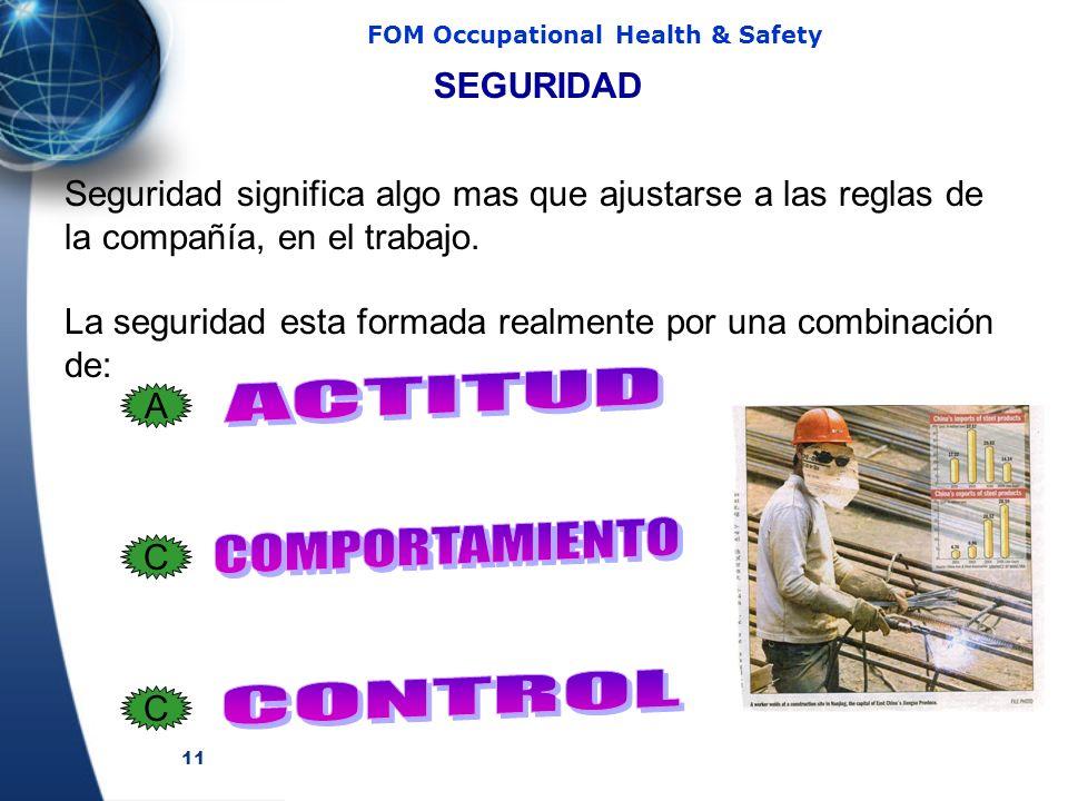 11 FOM Occupational Health & Safety SEGURIDAD Seguridad significa algo mas que ajustarse a las reglas de la compañía, en el trabajo. La seguridad esta
