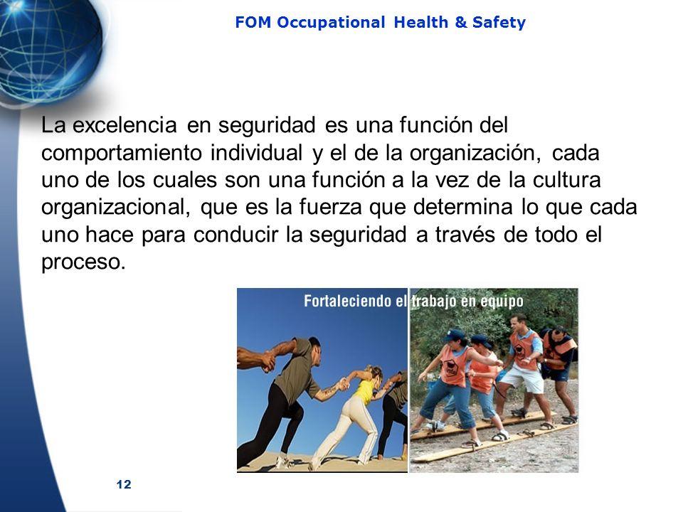 12 FOM Occupational Health & Safety La excelencia en seguridad es una función del comportamiento individual y el de la organización, cada uno de los cuales son una función a la vez de la cultura organizacional, que es la fuerza que determina lo que cada uno hace para conducir la seguridad a través de todo el proceso.