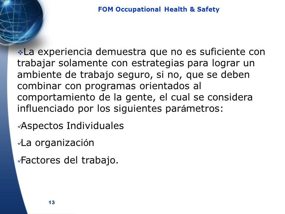 13 FOM Occupational Health & Safety La experiencia demuestra que no es suficiente con trabajar solamente con estrategias para lograr un ambiente de tr