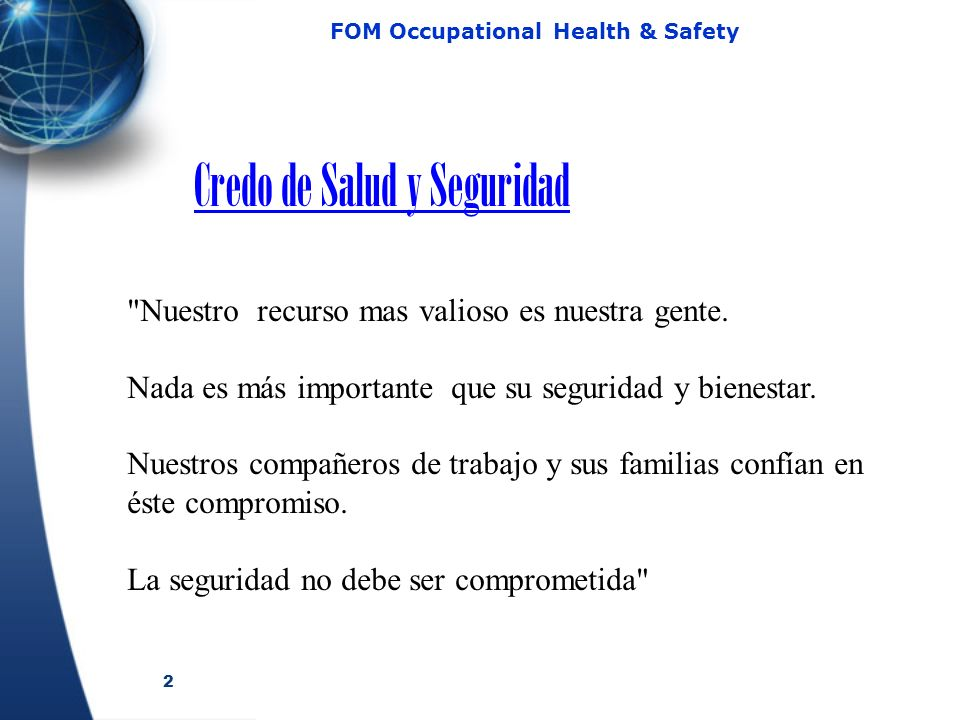 2 FOM Occupational Health & Safety Credo de Salud y Seguridad