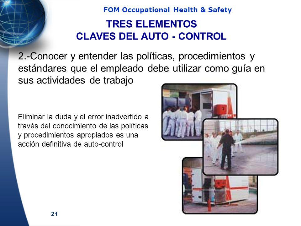 21 FOM Occupational Health & Safety 2.-Conocer y entender las políticas, procedimientos y estándares que el empleado debe utilizar como guía en sus ac