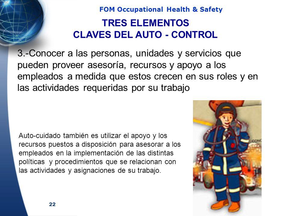 22 FOM Occupational Health & Safety 3.-Conocer a las personas, unidades y servicios que pueden proveer asesoría, recursos y apoyo a los empleados a me