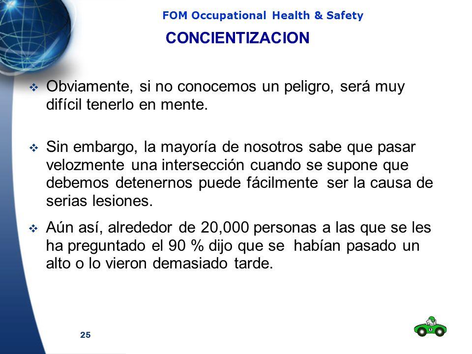 25 FOM Occupational Health & Safety Obviamente, si no conocemos un peligro, será muy difícil tenerlo en mente. CONCIENTIZACION Aún así, alrededor de 2
