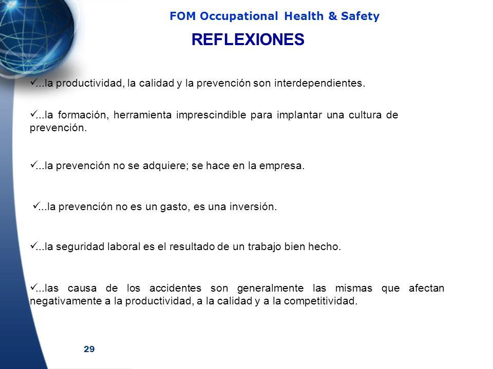 29 FOM Occupational Health & Safety...la formación, herramienta imprescindible para implantar una cultura de prevención....la prevención no se adquier