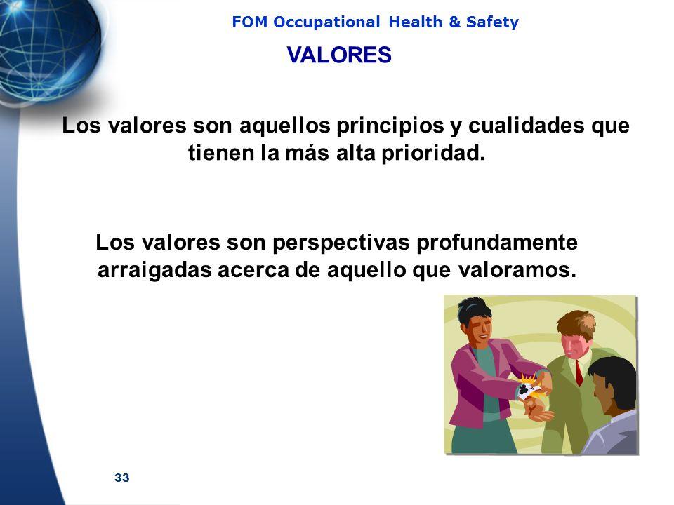 33 FOM Occupational Health & Safety Los valores son aquellos principios y cualidades que tienen la más alta prioridad. VALORES Los valores son perspec
