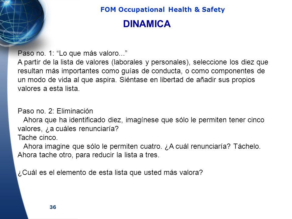 36 FOM Occupational Health & Safety Paso no. 1: Lo que más valoro... A partir de la lista de valores (laborales y personales), seleccione los diez que