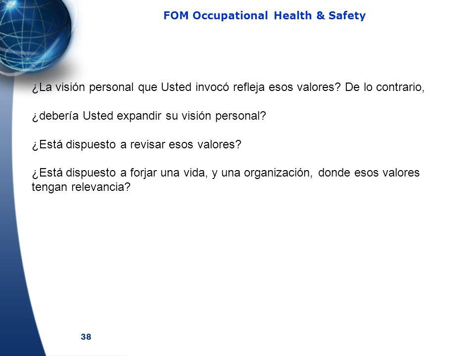 38 FOM Occupational Health & Safety ¿La visión personal que Usted invocó refleja esos valores? De lo contrario, ¿debería Usted expandir su visión pers