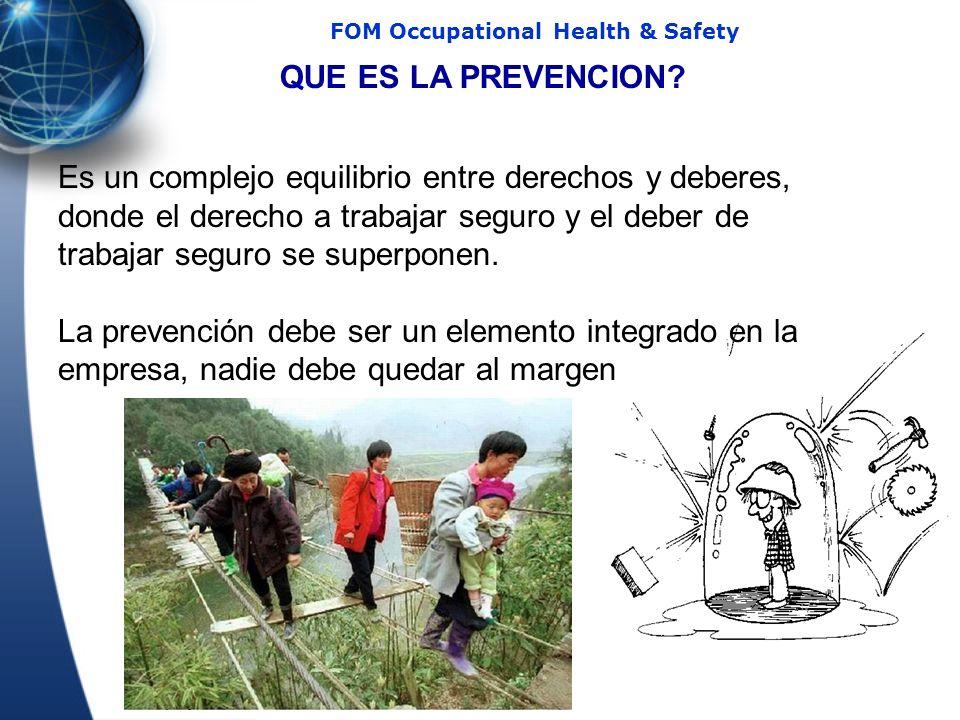 52 FOM Occupational Health & Safety QUE ES LA PREVENCION? Es un complejo equilibrio entre derechos y deberes, donde el derecho a trabajar seguro y el