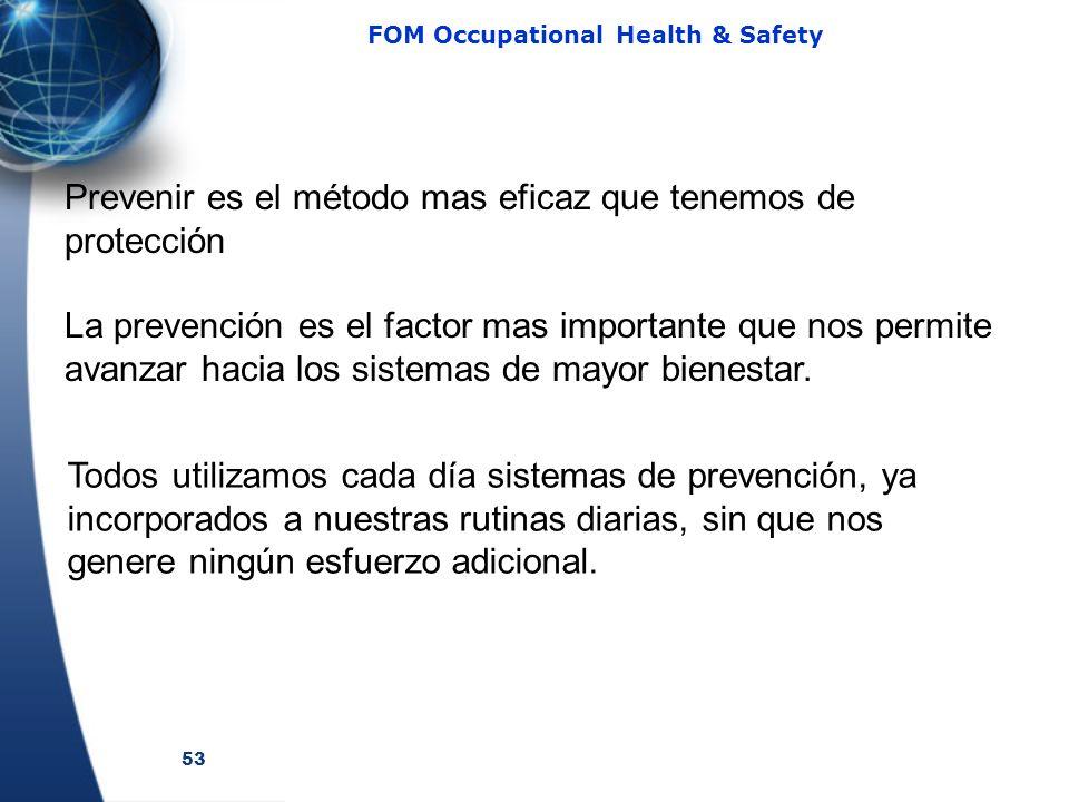 53 FOM Occupational Health & Safety Prevenir es el método mas eficaz que tenemos de protección La prevención es el factor mas importante que nos permi