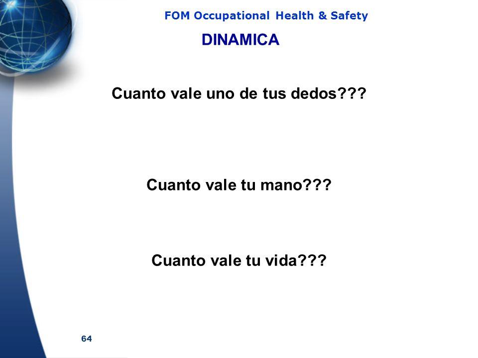 64 FOM Occupational Health & Safety DINAMICA Cuanto vale tu vida??? Cuanto vale uno de tus dedos??? Cuanto vale tu mano???