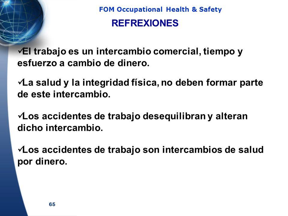 65 FOM Occupational Health & Safety El trabajo es un intercambio comercial, tiempo y esfuerzo a cambio de dinero. La salud y la integridad física, no