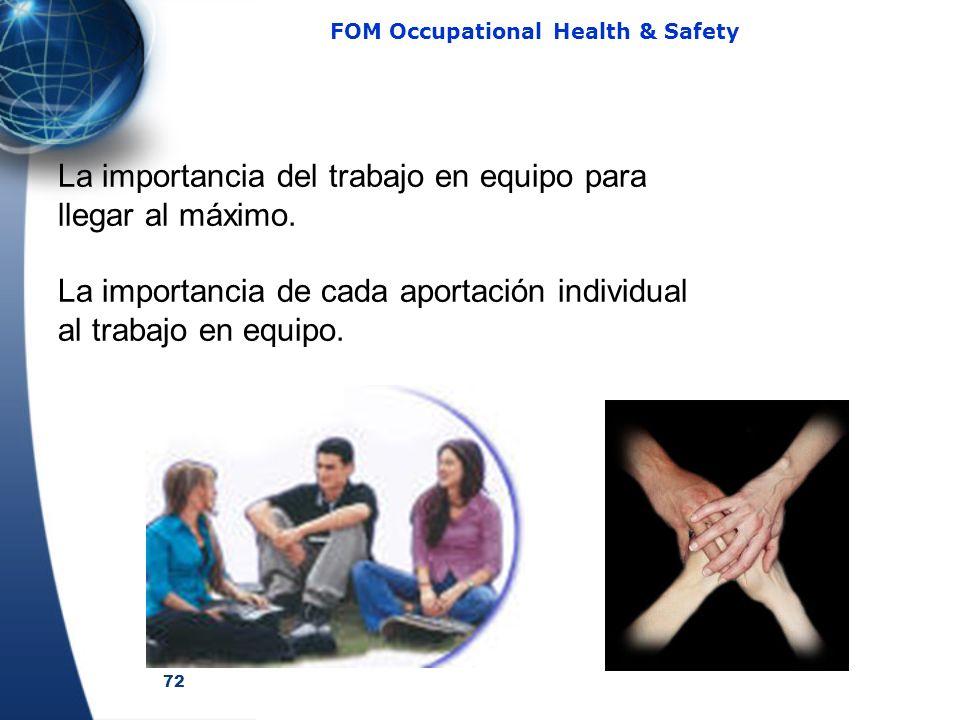 72 FOM Occupational Health & Safety La importancia del trabajo en equipo para llegar al máximo. La importancia de cada aportación individual al trabaj