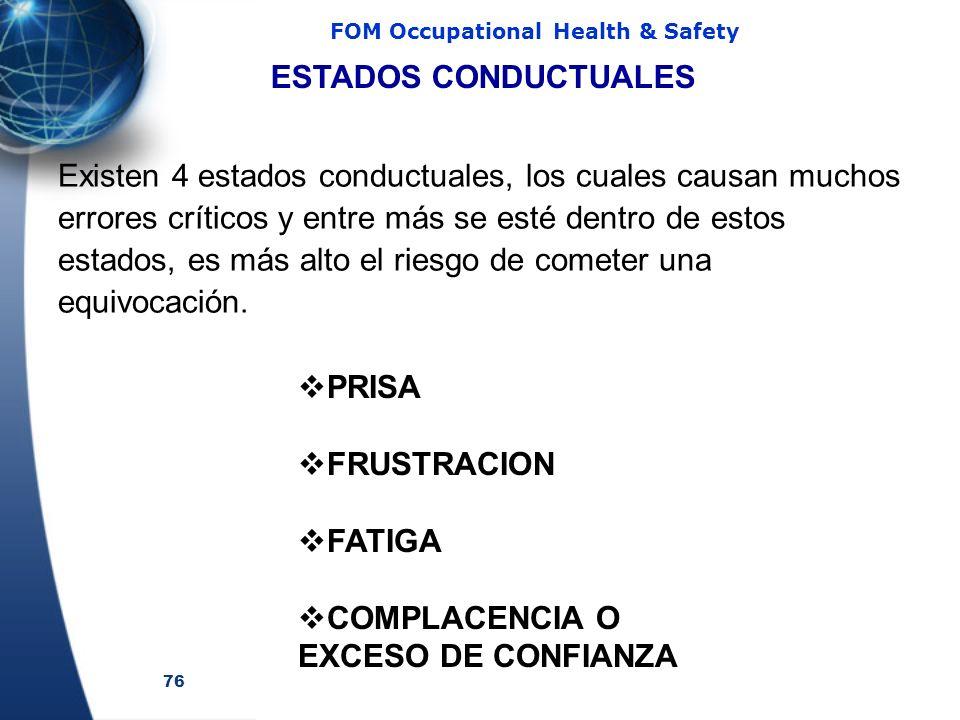76 FOM Occupational Health & Safety ESTADOS CONDUCTUALES Existen 4 estados conductuales, los cuales causan muchos errores críticos y entre más se esté