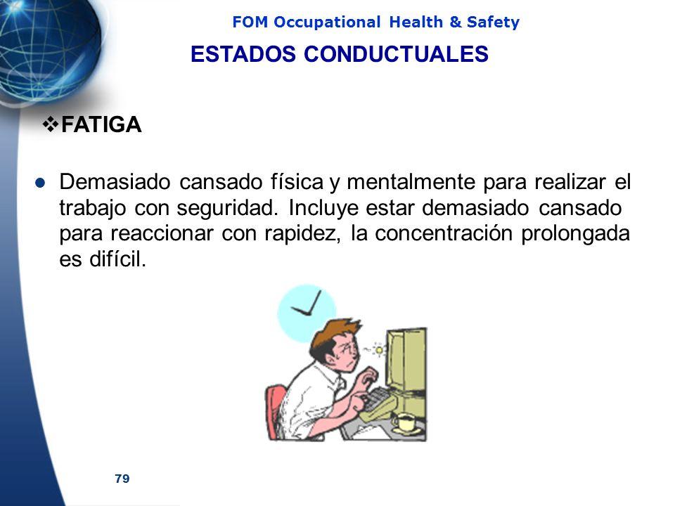 79 FOM Occupational Health & Safety Demasiado cansado física y mentalmente para realizar el trabajo con seguridad.