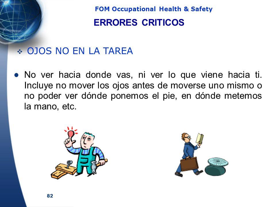 82 FOM Occupational Health & Safety No ver hacia donde vas, ni ver lo que viene hacia ti.