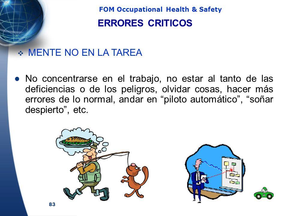 83 FOM Occupational Health & Safety No concentrarse en el trabajo, no estar al tanto de las deficiencias o de los peligros, olvidar cosas, hacer más errores de lo normal, andar en piloto automático, soñar despierto, etc.