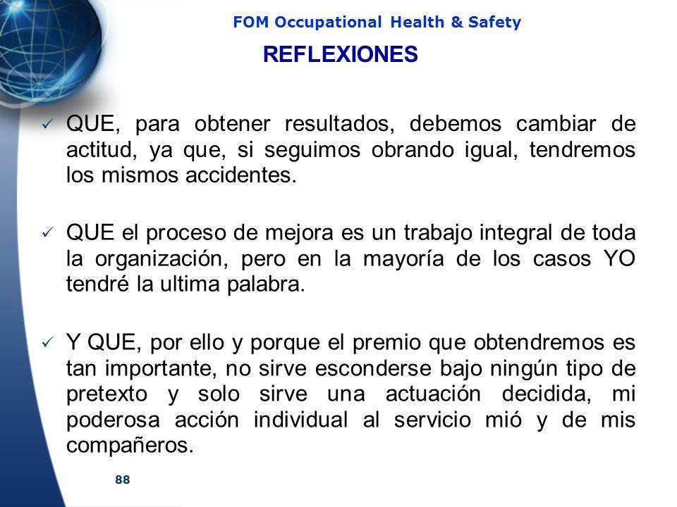 88 FOM Occupational Health & Safety REFLEXIONES QUE, para obtener resultados, debemos cambiar de actitud, ya que, si seguimos obrando igual, tendremos los mismos accidentes.