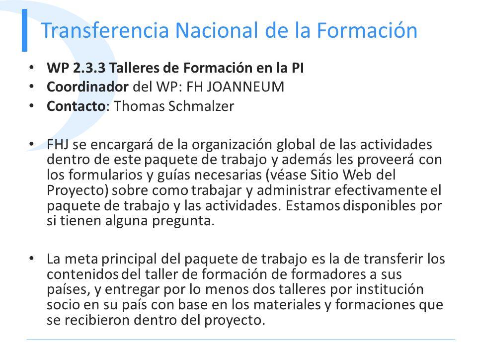Transferencia Nacional de la Formación WP 2.3.3 Talleres de Formación en la PI Coordinador del WP: FH JOANNEUM Contacto: Thomas Schmalzer FHJ se encar