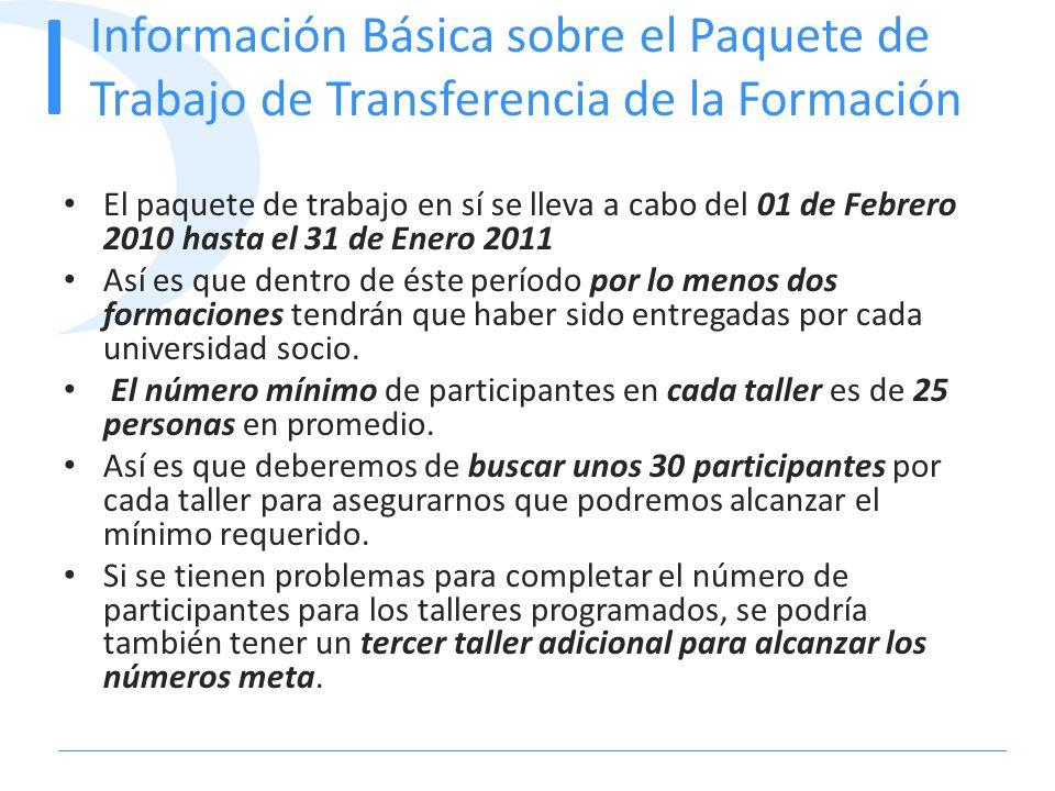 Información Básica sobre el Paquete de Trabajo de Transferencia de la Formación El paquete de trabajo en sí se lleva a cabo del 01 de Febrero 2010 has