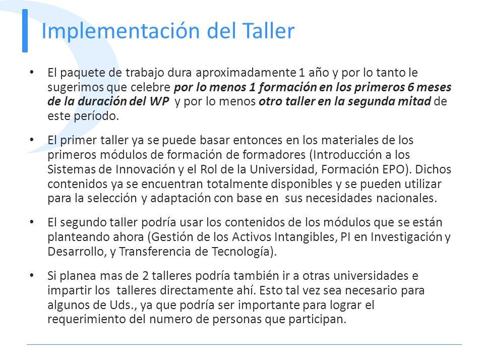 Implementación del Taller El paquete de trabajo dura aproximadamente 1 año y por lo tanto le sugerimos que celebre por lo menos 1 formación en los pri