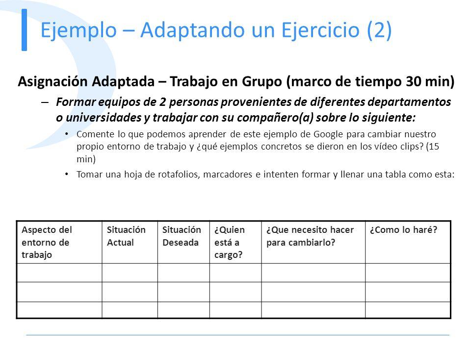 Ejemplo – Adaptando un Ejercicio (2) Asignación Adaptada – Trabajo en Grupo (marco de tiempo 30 min) – Formar equipos de 2 personas provenientes de di