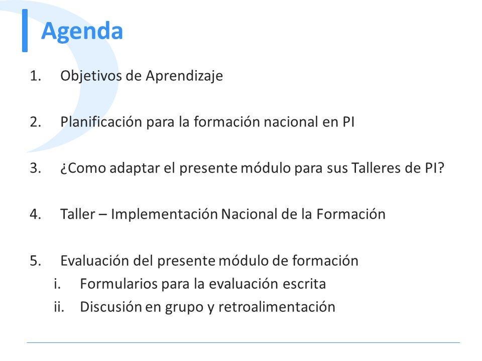 Agenda 1.Objetivos de Aprendizaje 2.Planificación para la formación nacional en PI 3.¿Como adaptar el presente módulo para sus Talleres de PI? 4.Talle