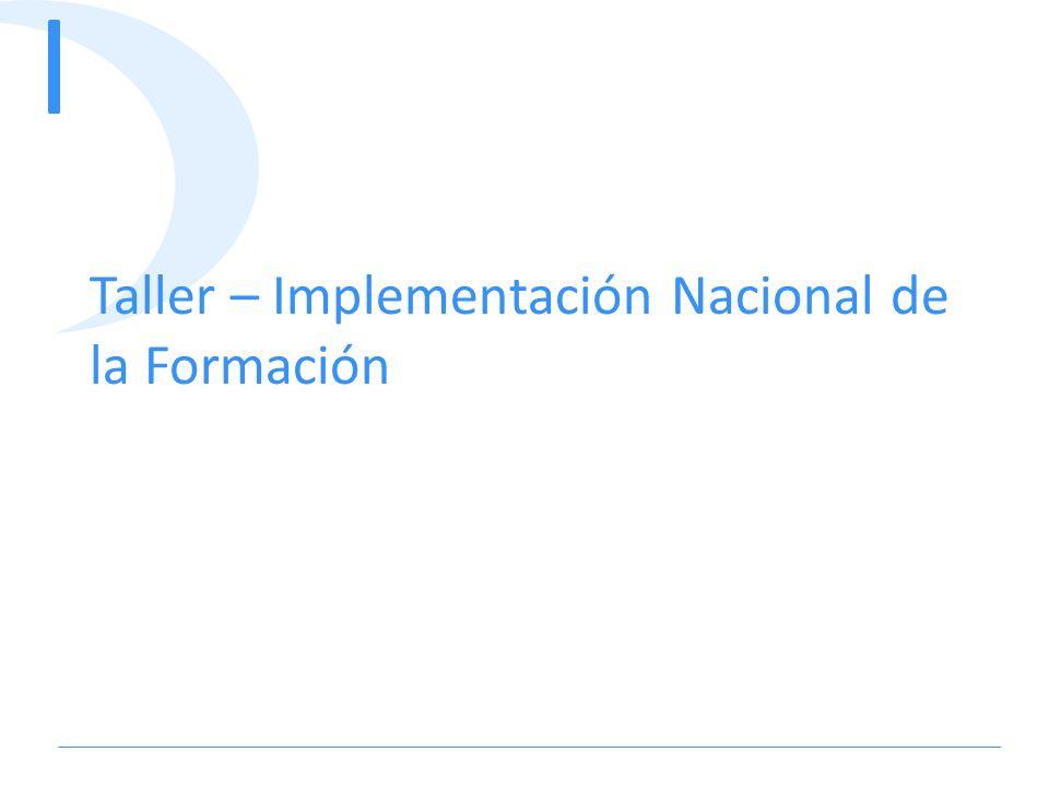 Taller – Implementación Nacional de la Formación