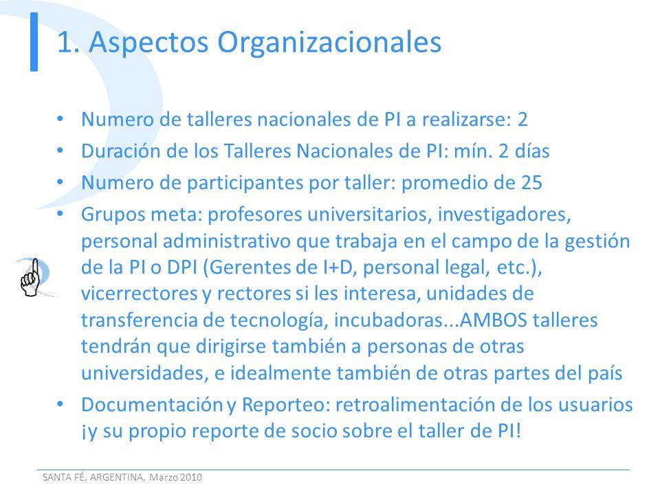 1. Aspectos Organizacionales Numero de talleres nacionales de PI a realizarse: 2 Duración de los Talleres Nacionales de PI: mín. 2 días Numero de part