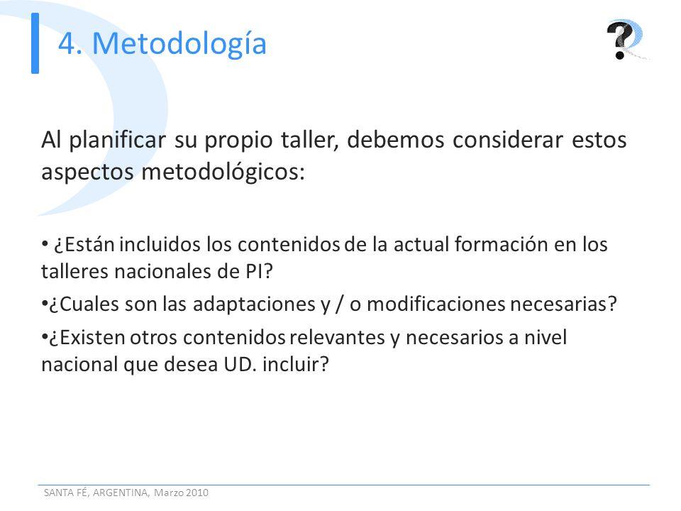 4. Metodología Al planificar su propio taller, debemos considerar estos aspectos metodológicos: ¿Están incluidos los contenidos de la actual formación